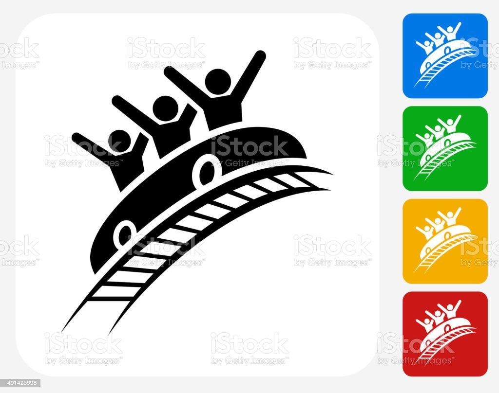 Roller Coaster Icon Flat Graphic Design vector art illustration