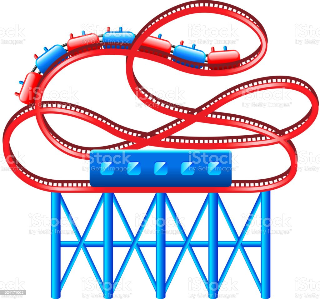 Roller coaster isolated on white vector vector art illustration