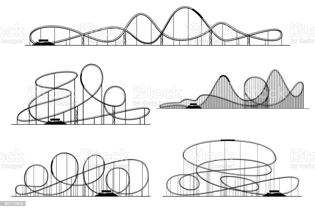 Roller coaster vector silhouettes. Rollercoaster or amusement park rollers isolated vector art illustration