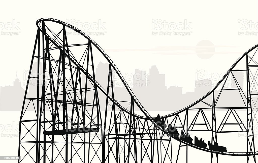 Roller Coasting Vector Silhouette royalty-free stock vector art
