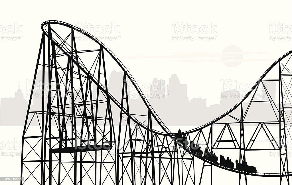 Roller Coasting Vector Silhouette vector art illustration