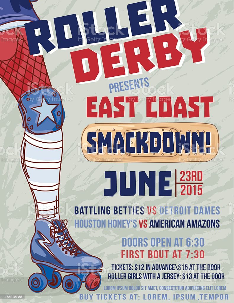 Roller Derby Event Poster Template vector art illustration