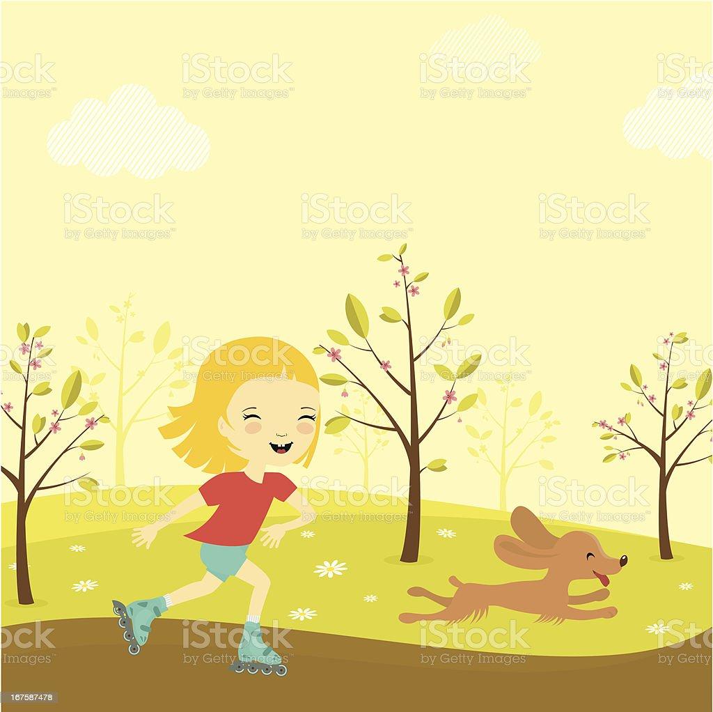 Roller girl vector art illustration
