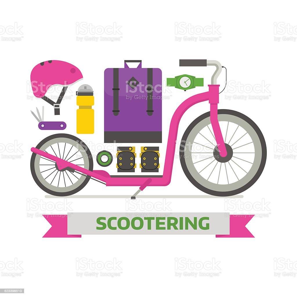 Roller Scooter Elements Set vector art illustration