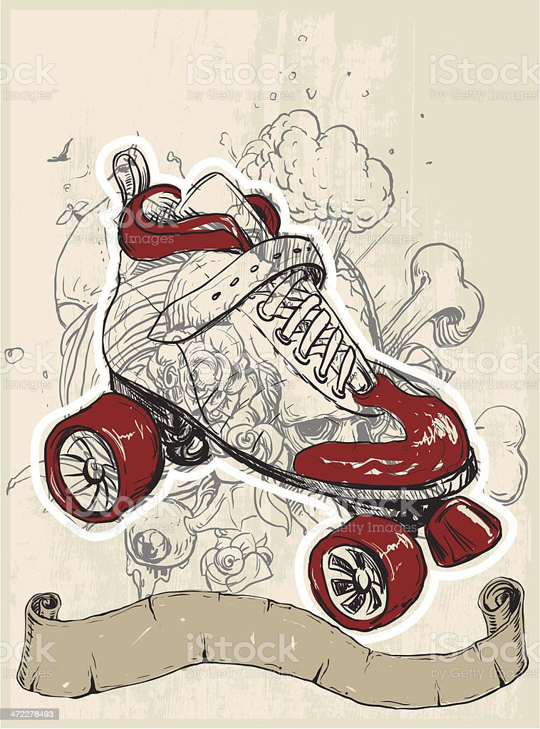 Roller Skating royalty-free stock vector art