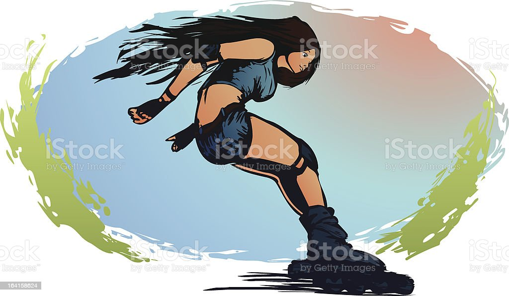 Rollerblading royalty-free stock vector art