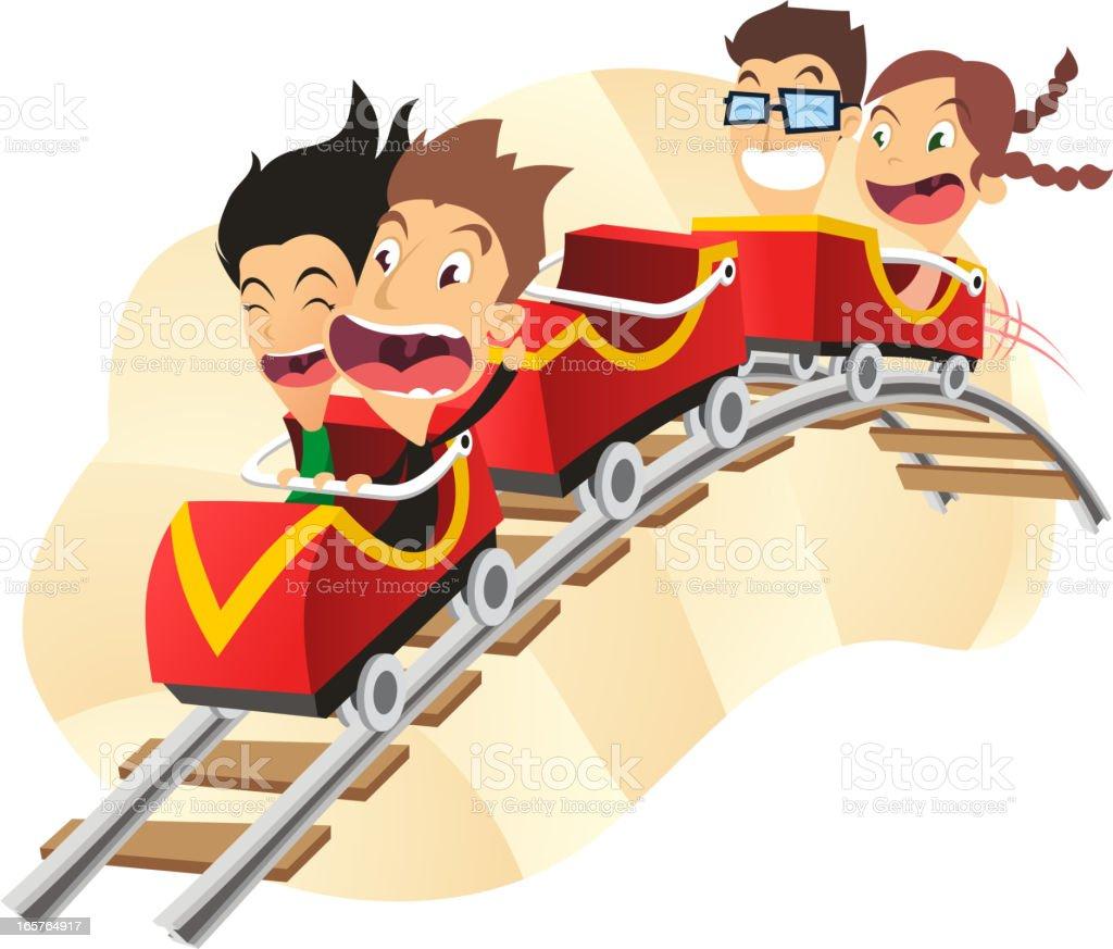 Rollercoaster amusement park super fun ride vector art illustration