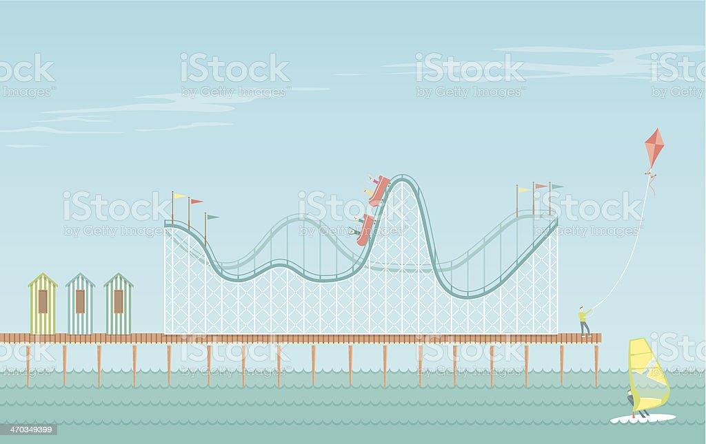 Rollercoaster Boardwalk vector art illustration