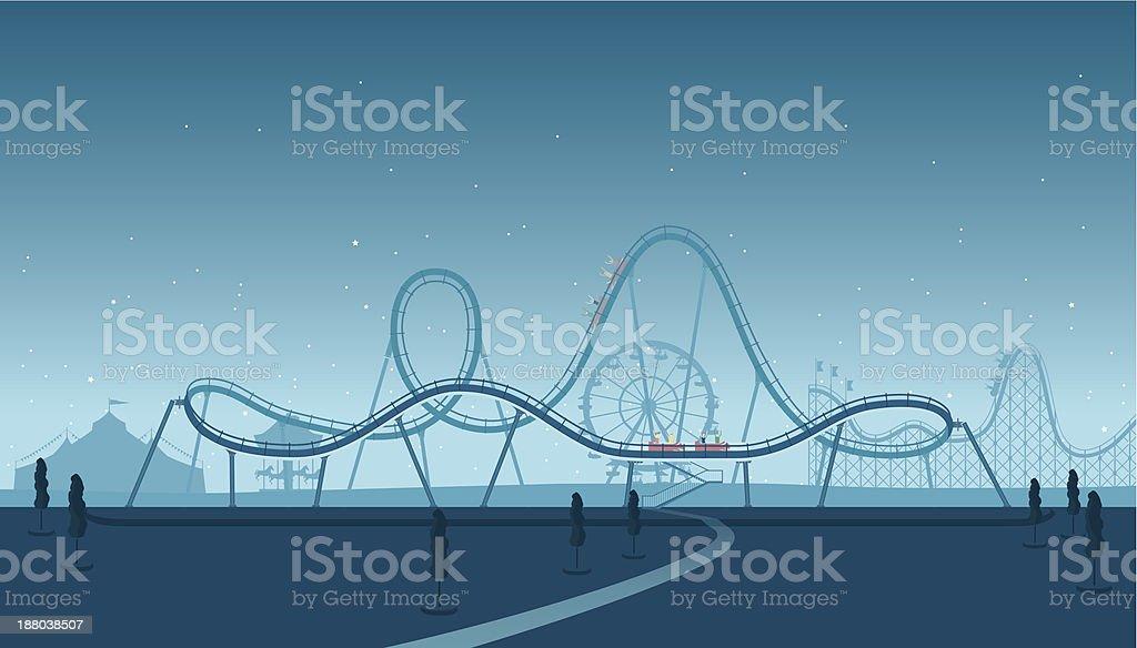 Rollercoaster Silhouette vector art illustration
