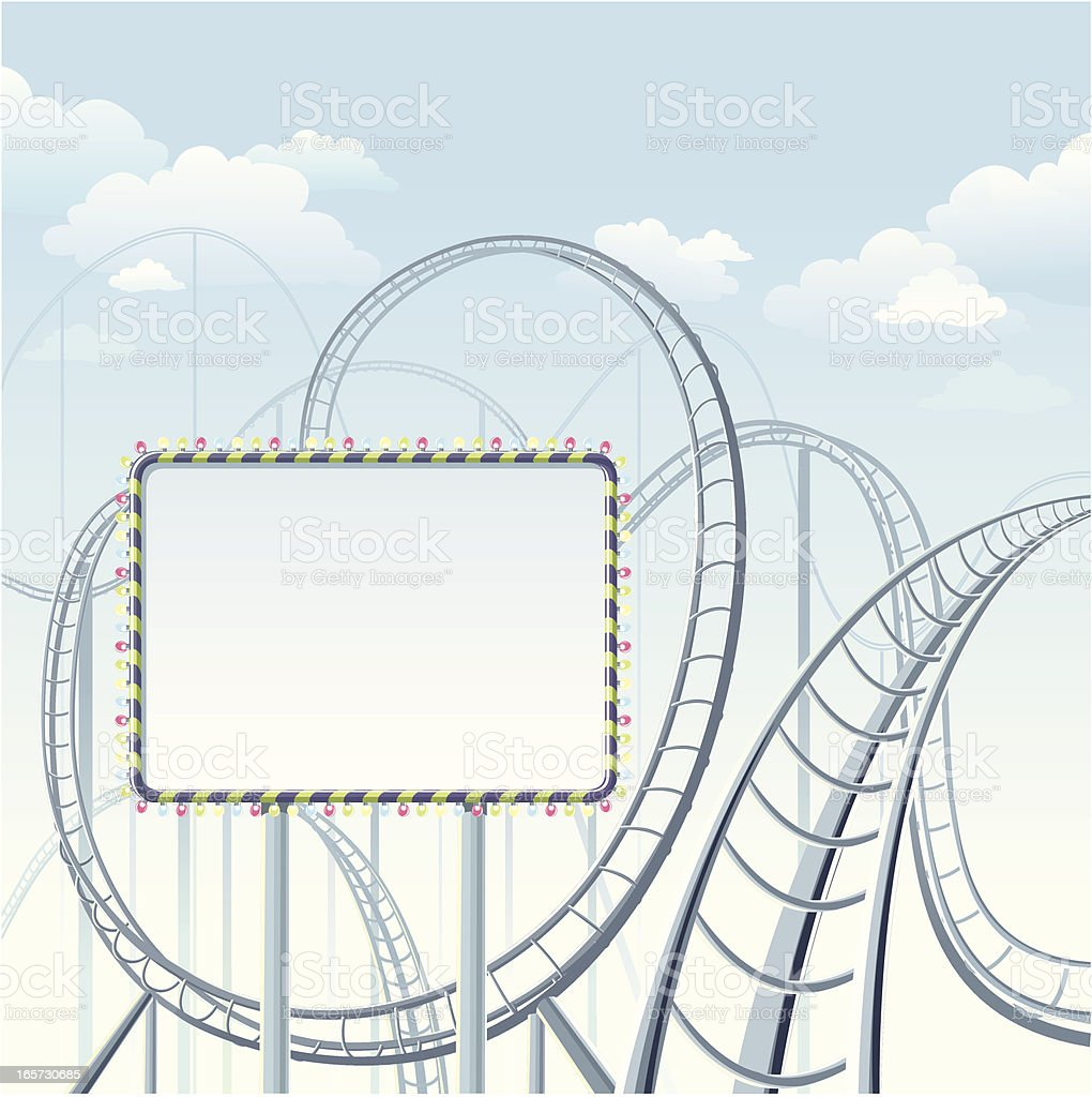 Rollercoaster with banner royalty-free stock vector art