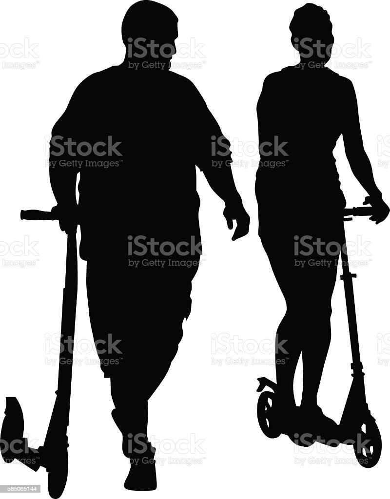 Rollers scooter couple vector art illustration