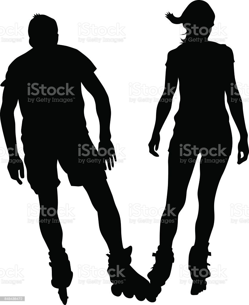 Rollers young couples vector art illustration