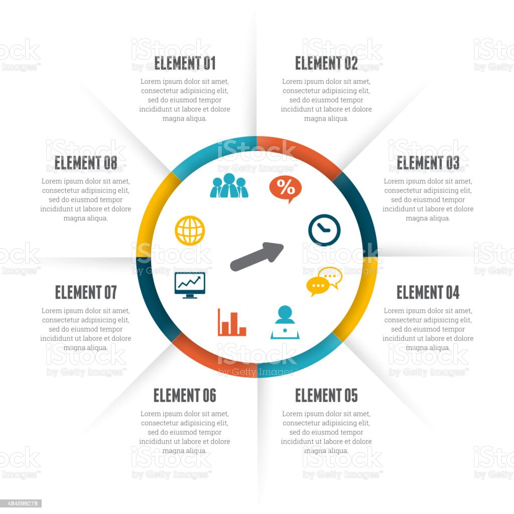 Rolling Circle Infographic vector art illustration