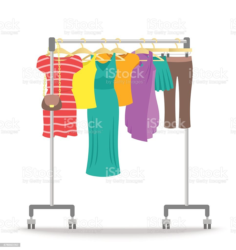 Rolling hanger rack with women clothes collection vector art illustration