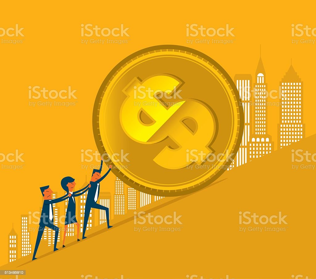 Rolling money vector art illustration
