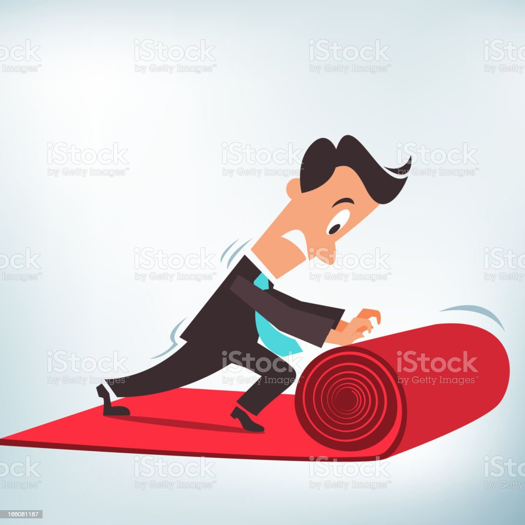 Rolling out a Red Carpet royalty-free stock vector art