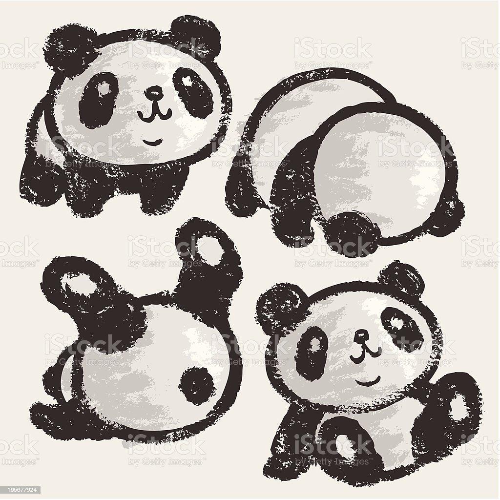 Rolling panda vector art illustration