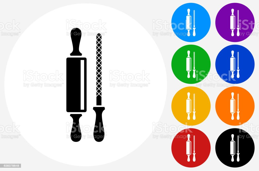 Rolling Pin and Sharpener Icon on Flat Color Circle Buttons vector art illustration