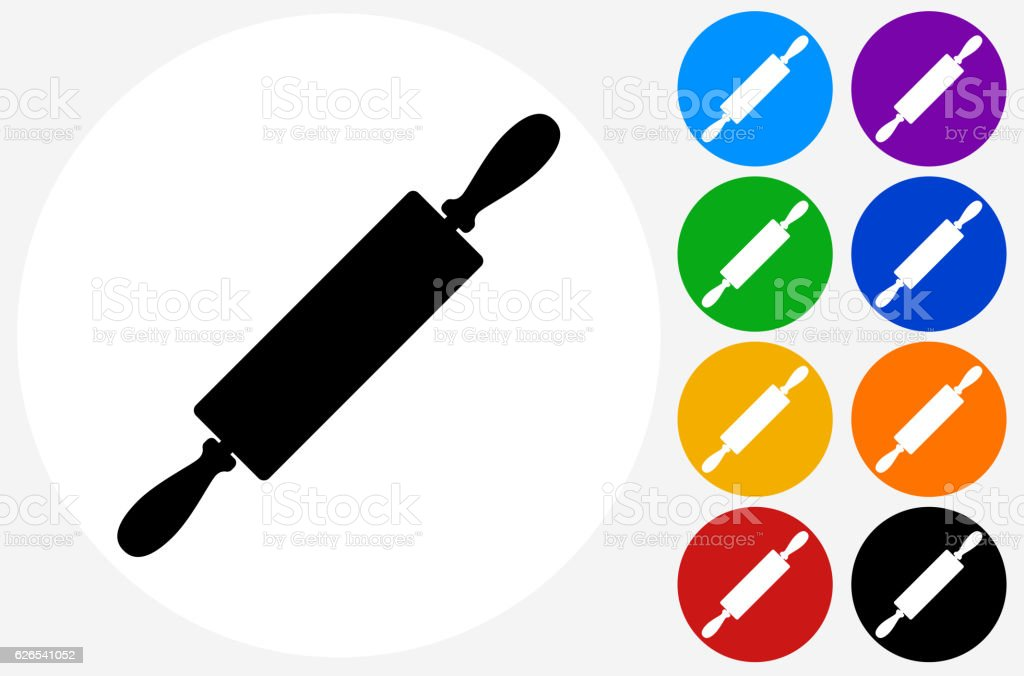 Rolling Pin Icon on Flat Color Circle Buttons vector art illustration