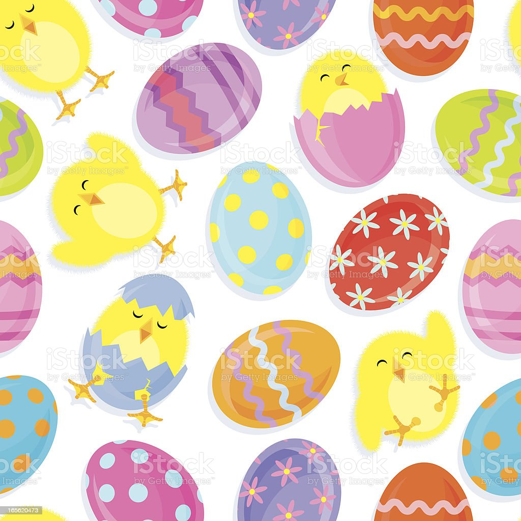 Roly Poly Easter Chicks & Eggs royalty-free stock vector art