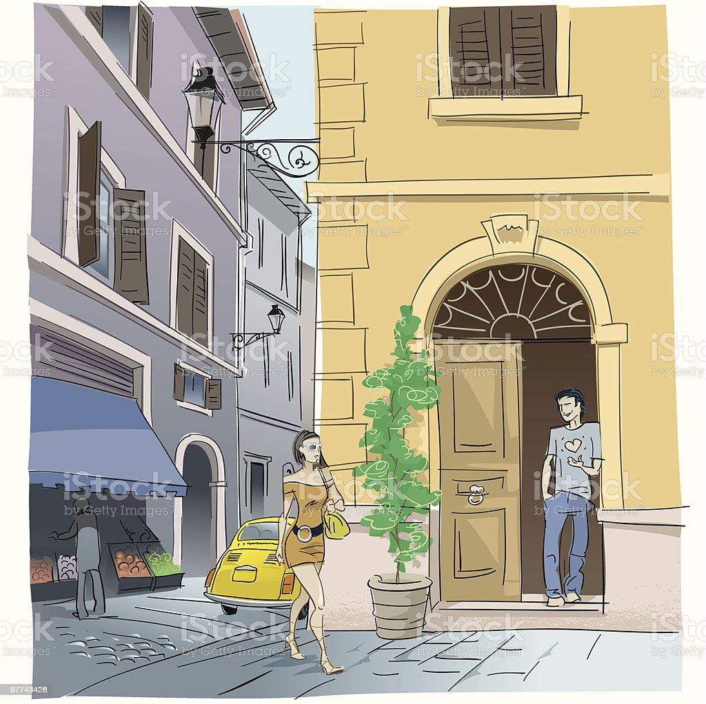 Roma Street vector art illustration