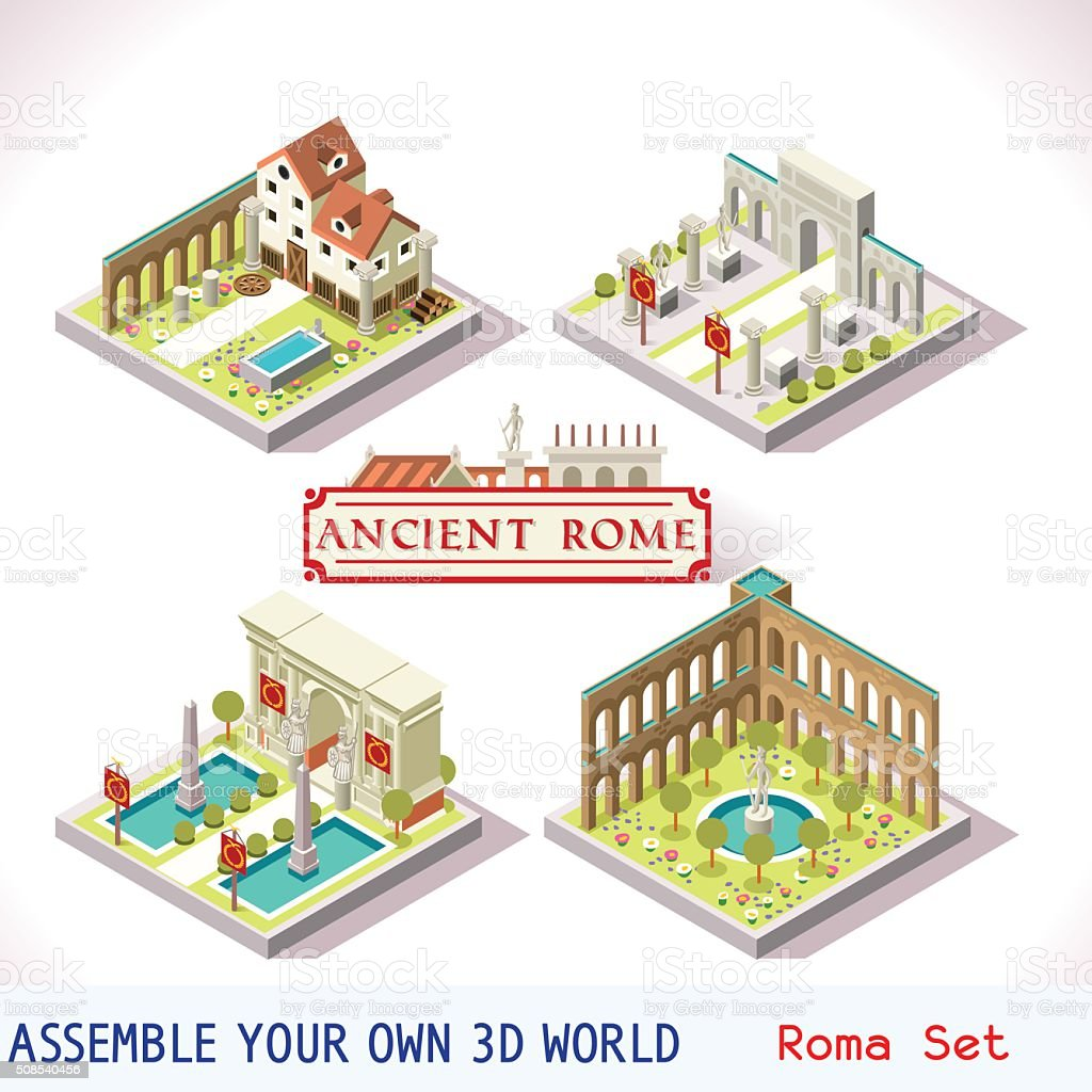 Roman 02 Tiles Isometric vector art illustration