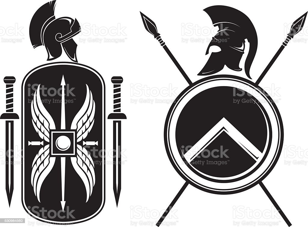 Roman and Spartan Coat of Arms vector art illustration
