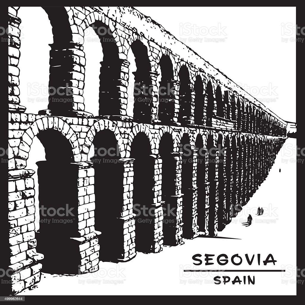 Roman aqueduct of Segovia. National symbol of Spain. vector art illustration