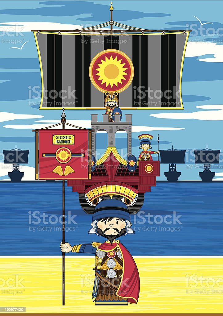 Roman Banner Soldier and Ship Scene royalty-free stock vector art