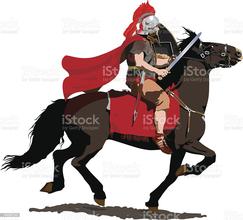 Red Plumed Roman Cavalry Illustration : Istockphoto