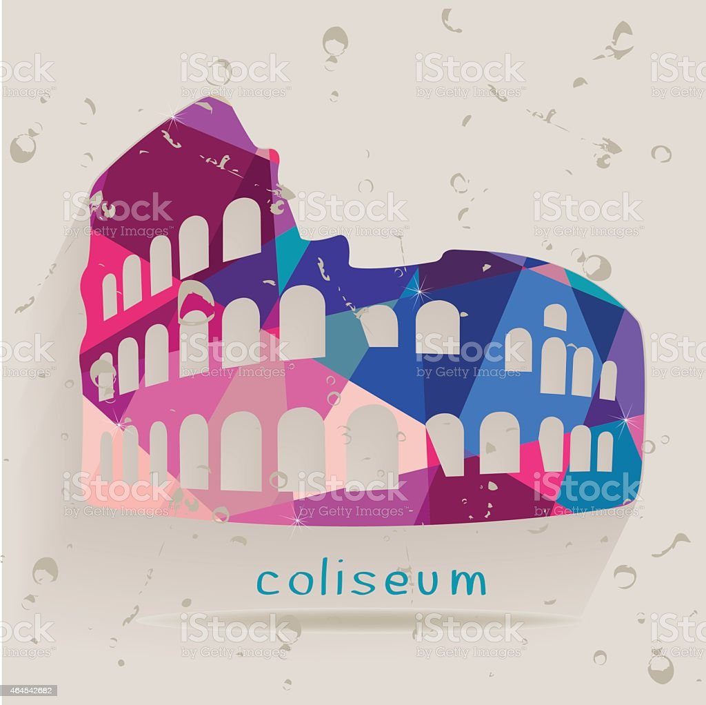 Roman coliseum silhouette made of triangles vector art illustration