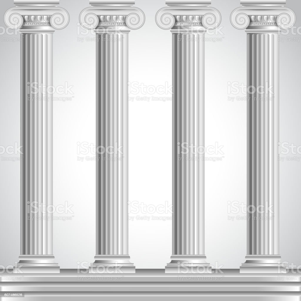 Roman columns isolated on white background vector art illustration