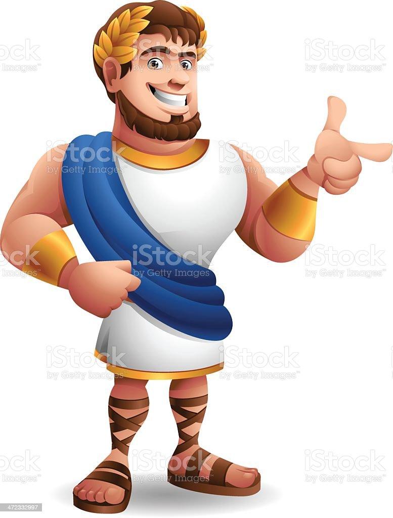 Roman Emperor: Pointing vector art illustration