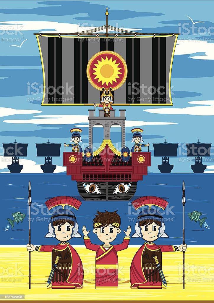 Roman Emperor & Ship Beach Scene royalty-free stock vector art
