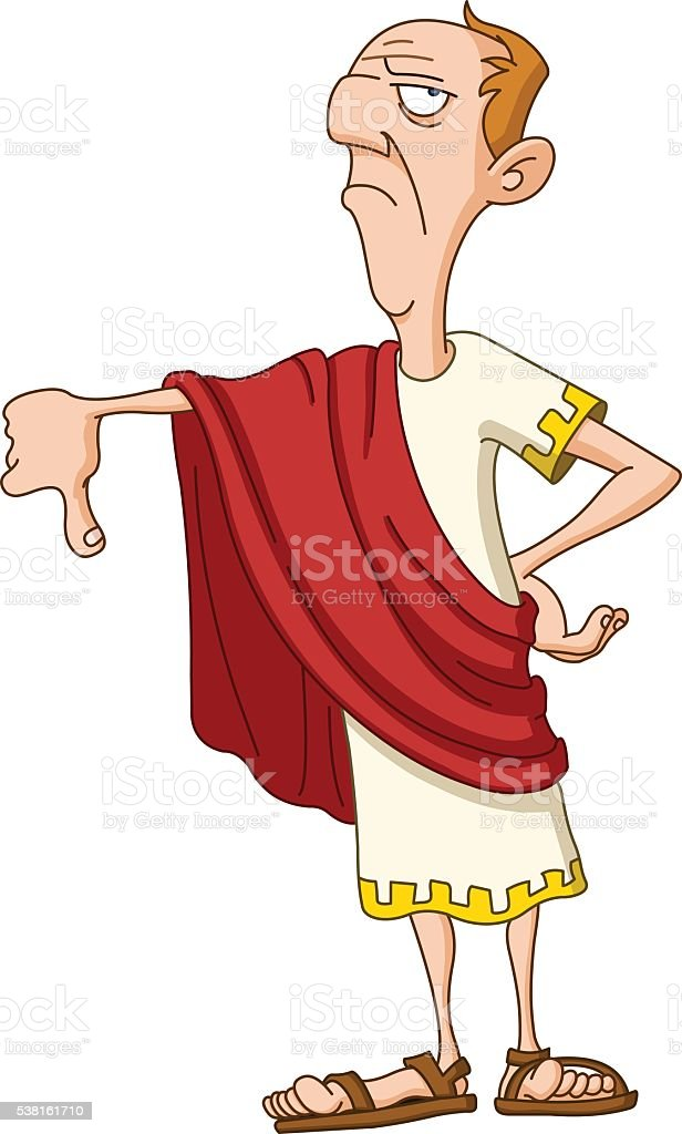 Roman emperor with thumb down vector art illustration