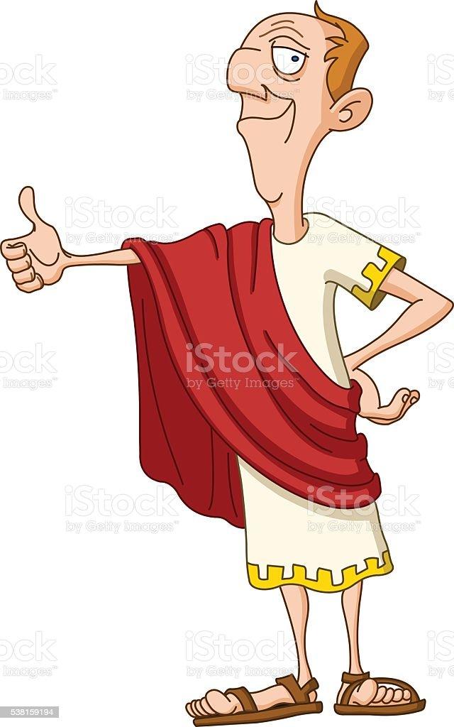 Roman emperor with thumb up vector art illustration