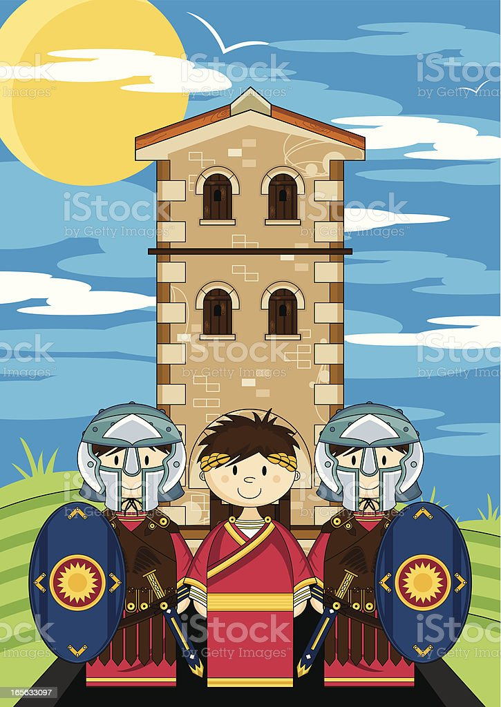 Roman Gladiators Guarding the Emperor royalty-free stock vector art