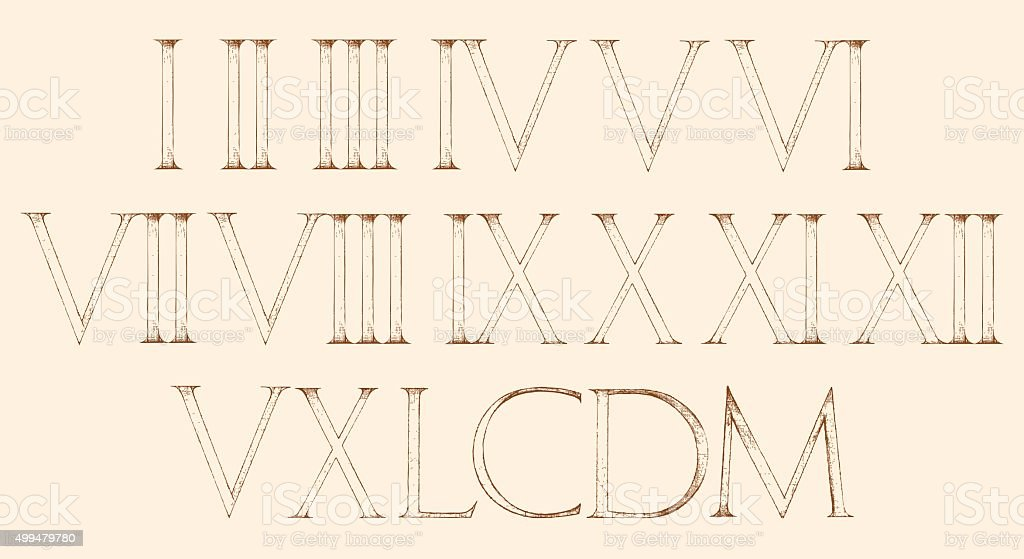 Roman numbers set. Modern Roman Classic number vector art illustration