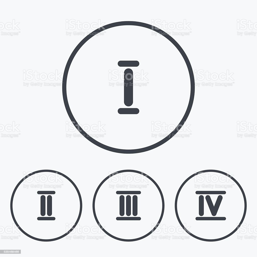 Worksheet Three In Roman Numeral roman numeral icons number one two three stock vector art 1 credit
