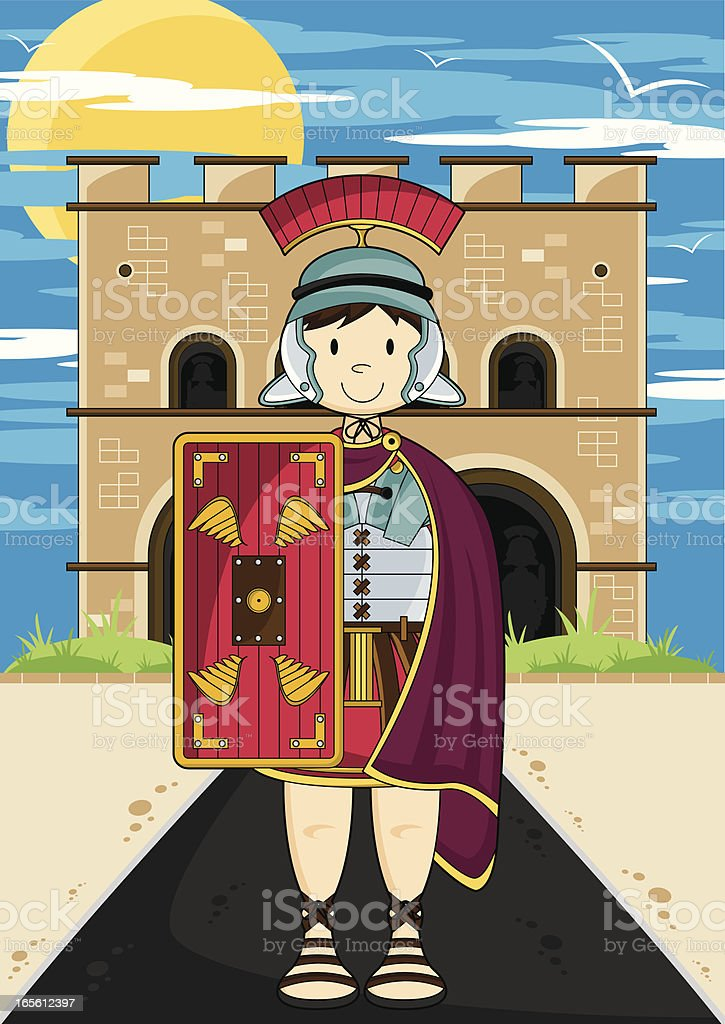 Roman Soldier Guarding Fort royalty-free stock vector art
