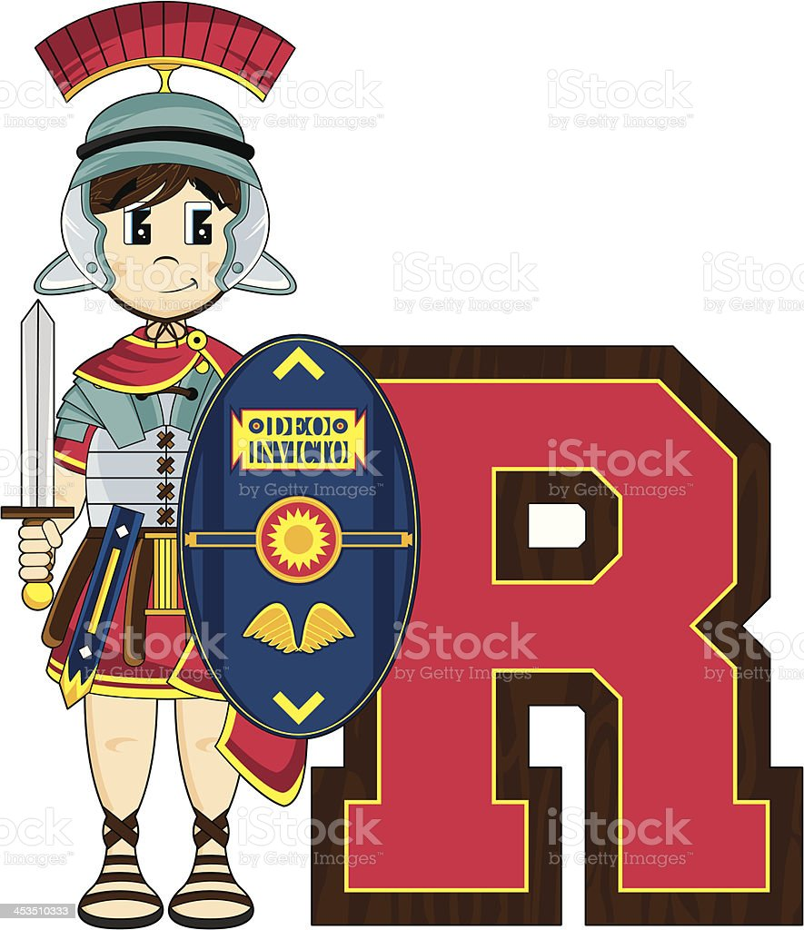 Roman Soldier Learning Letter R royalty-free stock vector art