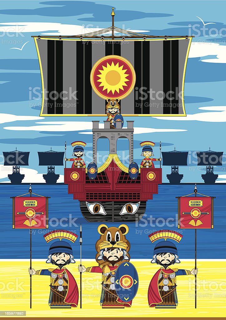 Roman Soldiers and Ship Scene royalty-free stock vector art