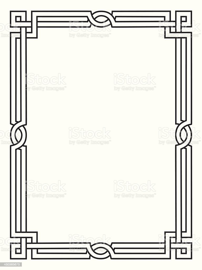 Roman style black ornamental decorative frame vector art illustration