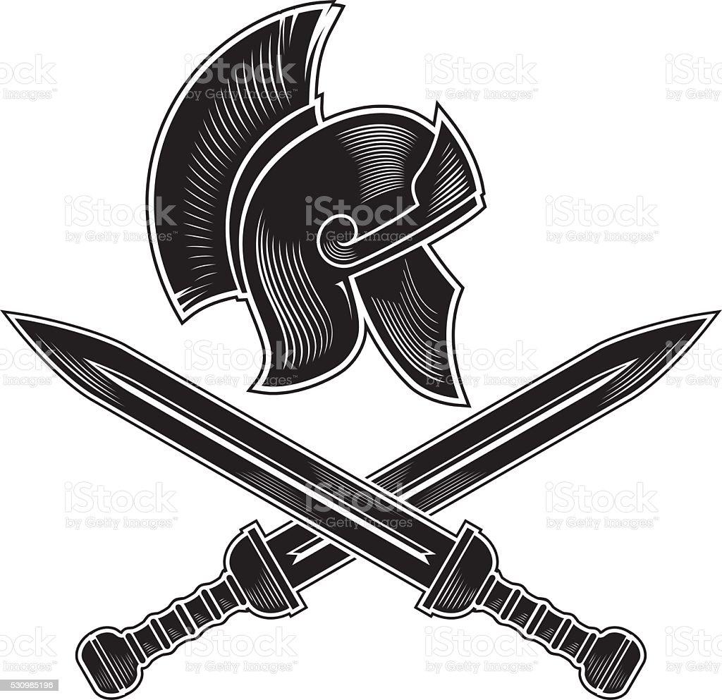 Roman Sword and Armor vector art illustration