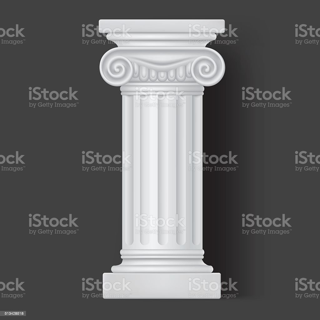 Roman vector white column icon vector art illustration