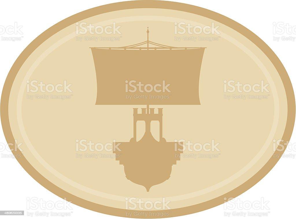 Roman Warship in Silhouette vector art illustration