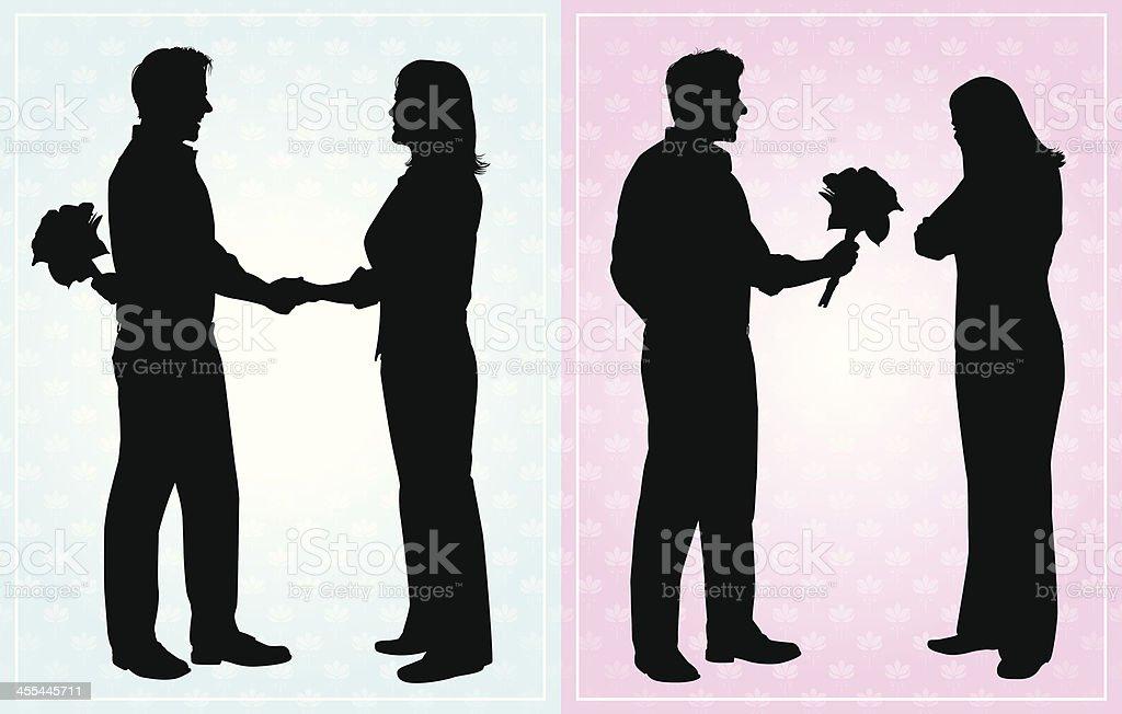 Romance Flowers vector art illustration