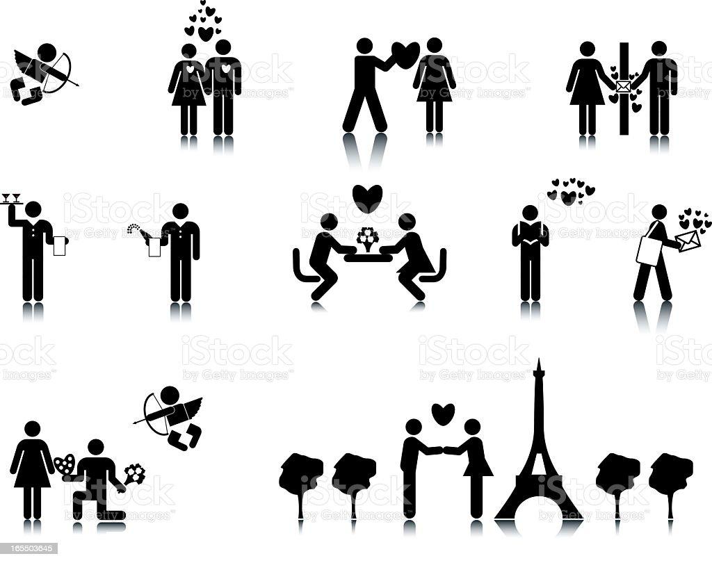 Romance Stick Figures vector art illustration