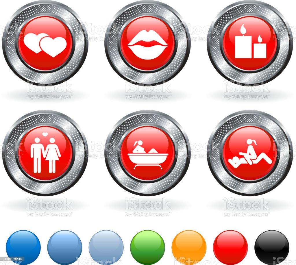 Romance vector icon set on buttons with metallic border vector art illustration