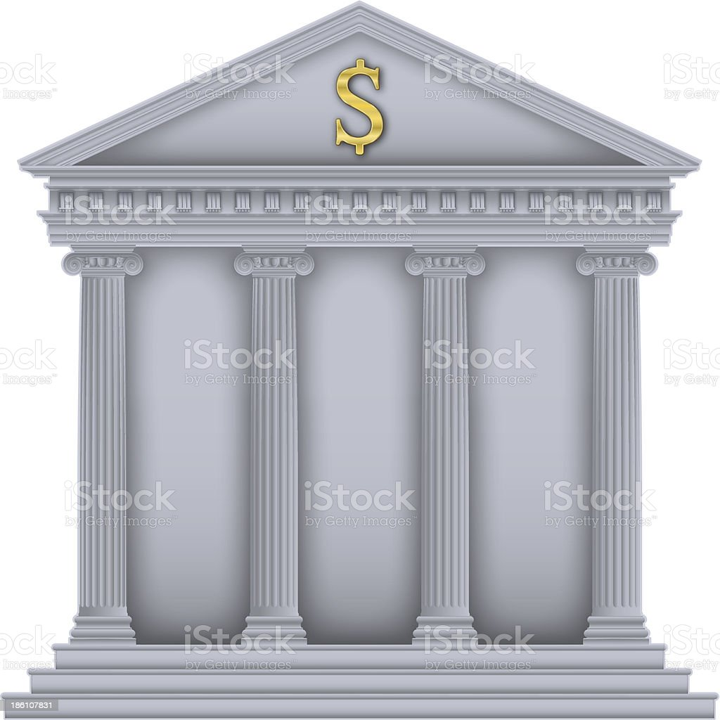 Roman/Greek Temple bank symbol vector art illustration